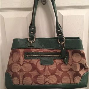 Ladies Authentic Coach handbag Brown and Green